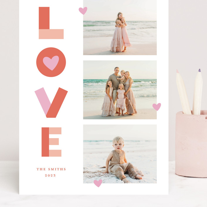"""""""Bright Happy Love"""" - Grand Valentine's Day Cards in Cherry by Little Print Design."""