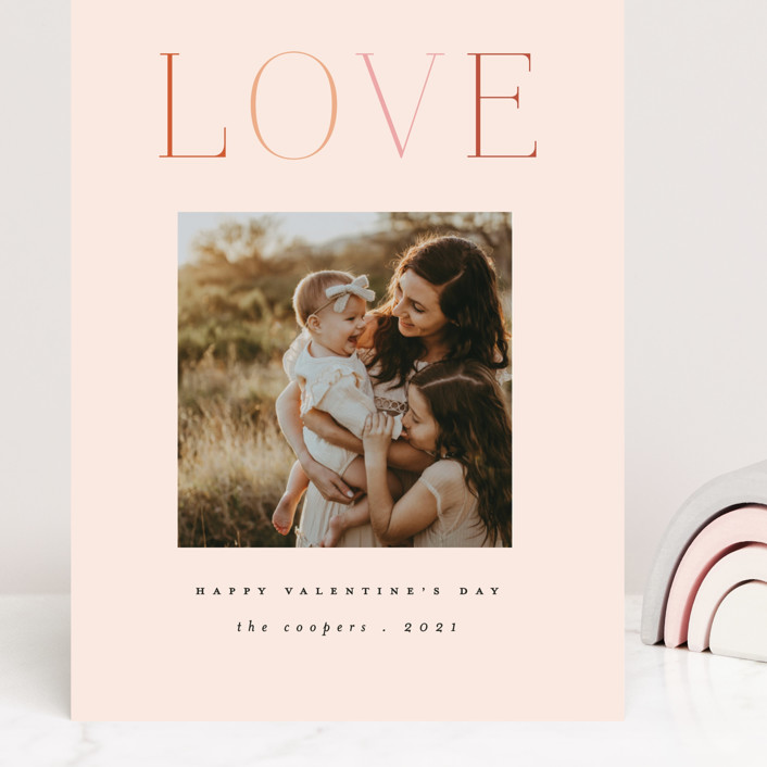 """Rainbow of Love"" - Grand Valentine's Day Cards in Blush by Morgan Kendall."