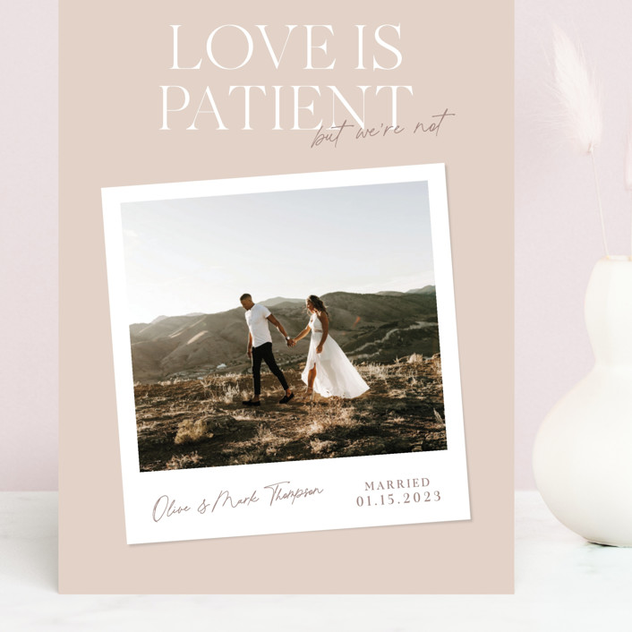 """""""Patient"""" - Funny Grand Valentine's Day Cards in Dusty Rose by Owl and Toad."""