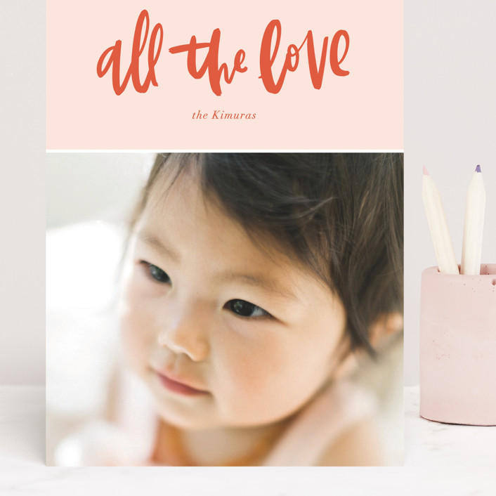 """All the Love"" - Preppy Grand Valentine's Day Cards in Blush by Vine and Thistle."
