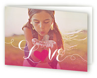 This is a pink greeting card by Guess What Design Studio called Sunset with standard printing on signature.