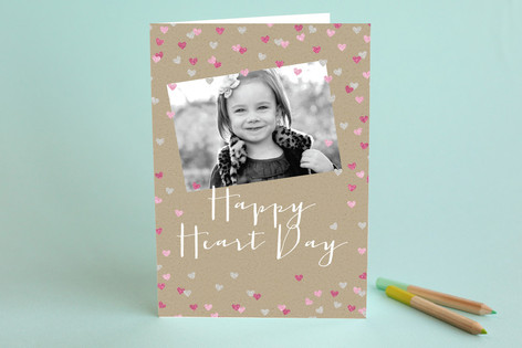 Sparkling Heart Confetti Valentine's Day Greeting Cards