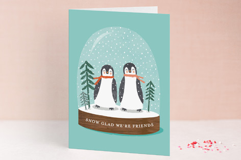little penguins snowglobe Valentine's Day Greeting Cards