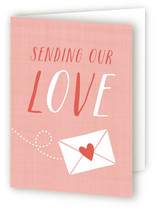 This is a pink greeting card by Susan Asbill called Sending Love with standard printing on signature.