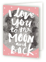 This is a pink greeting card by Cass Loh called Moon And Back with standard printing on pearlescent.