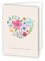This is a purple greeting card by lulu and isabelle called you make my heart bloom with standard printing on pearlescent.