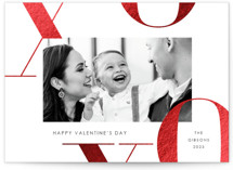 This is a black large valentines day card by Paula Pecevich called X's and O's with foil-pressed printing on signature in grand.