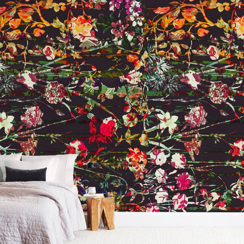 """""""Painted midnight garden"""" - Non-custom Wall Murals by Teo in beautiful frame options and a variety of sizes."""