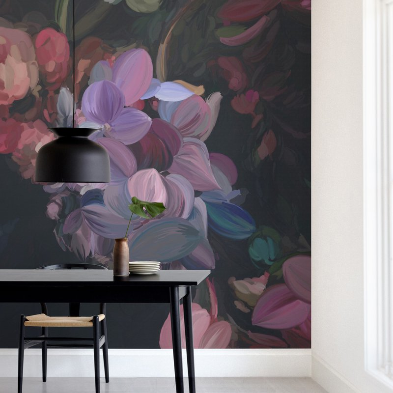 """""""Midnight Petals"""" - Non-custom Wall Murals by Amy Hall in beautiful frame options and a variety of sizes."""