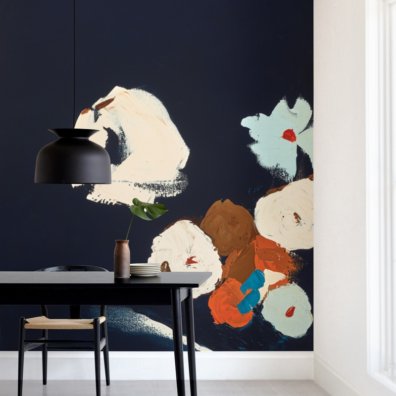 """Abstract Botanical Navy Shadows #2"" - Non-custom Wall Murals by Caryn Owen in beautiful frame options and a variety of sizes."