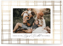 This is a white hanukkah card by Carolyn Nicks called Modern Plaid printing on smooth signature in standard.