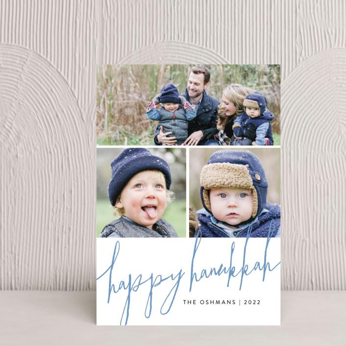 """""""Trio Script"""" - Modern Hanukkah Petite Cards in Cornflower by Erin Deegan."""