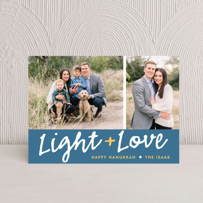 """""""Light Love"""" - Hanukkah Petite Cards in Navy by The Social Type."""