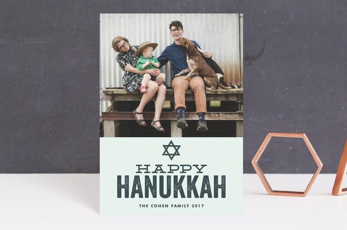 """""""Hand Stamped"""" - Hanukkah Petite Cards in Rustic Blue by Jessie Steury."""