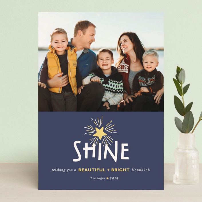"""""""Shine"""" - Vintage Hanukkah Petite Cards in Moneric by The Social Type."""