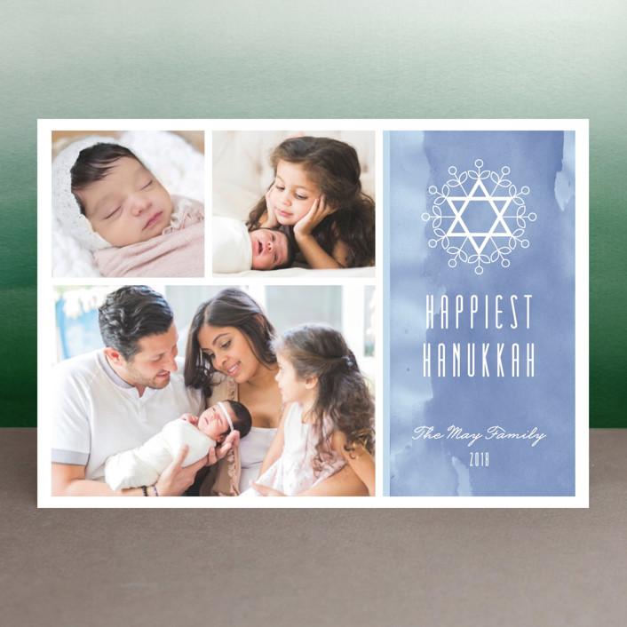 """Floral David Star"" - Hanukkah Petite Cards in Winter Sky by Aspacia Kusulas."