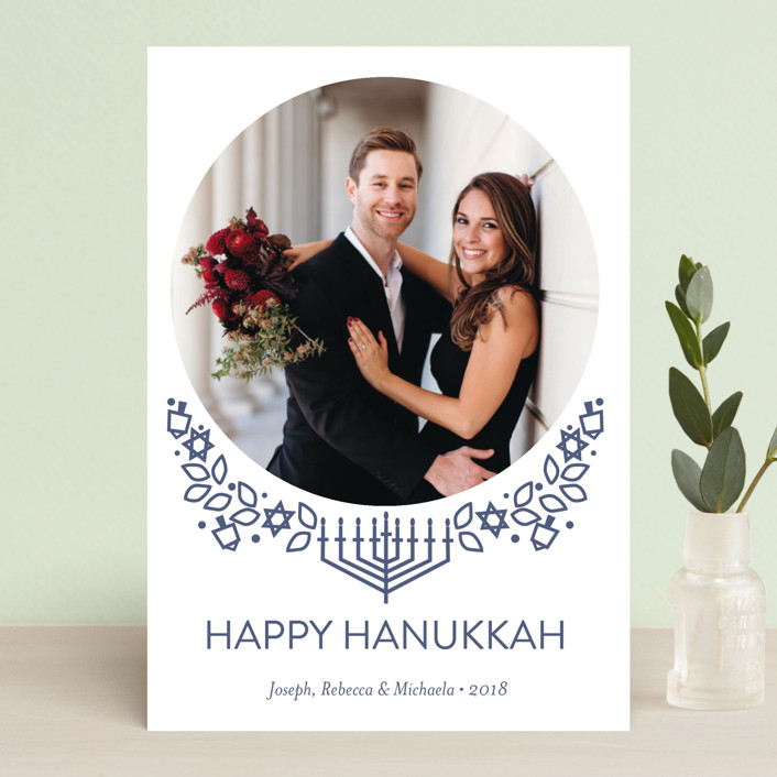 """Traditional Hanukkah Whimsy"" - Hanukkah Petite Cards in Navy by Rebecca Marchese."