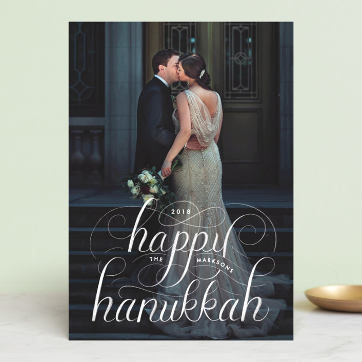 """Happy Hanukkah Chalk Lettering"" - Hanukkah Petite Cards in Stormy by Becky Nimoy."