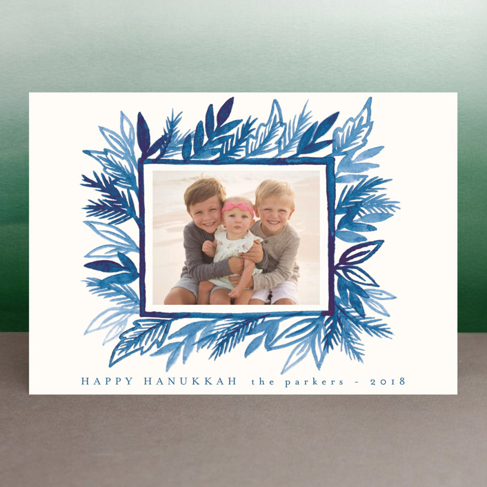 """Painted Pine Leaves"" - Hanukkah Petite Cards in Blue Spruce by Katharine Watson."