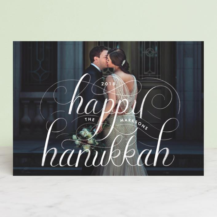 """Happy Hanukkah Chalk Lettering"" - Hanukkah Petite Cards in Stormy by Becky Nimoy."