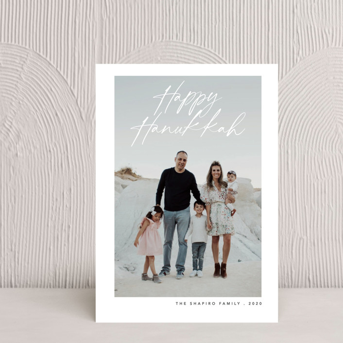 """Scripted Hannukah"" - Modern Hanukkah Petite Cards in Snow by Liz Conley."