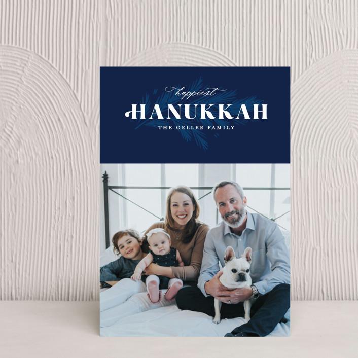 """Hanukkah Branch"" - Hanukkah Petite Cards in Navy by Paper Raven Co.."