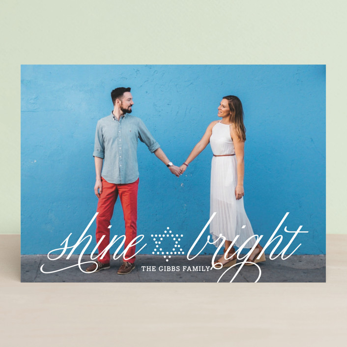 """Bright Star"" - Full-Bleed Photo Hanukkah Cards in Pearl by Yolanda Mariak Chendak."