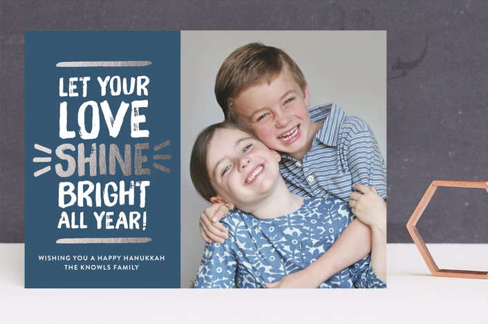 """""""Love Shine Bright"""" - Minimalist, Simple Hanukkah Cards in Winter Night by The Social Type."""