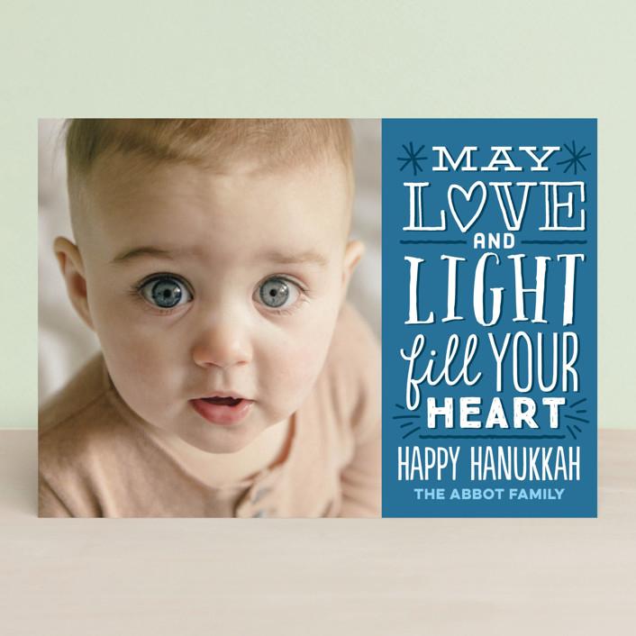 """Love & Light"" - Vintage Hanukkah Cards in Royal Blue by Jessie Steury."