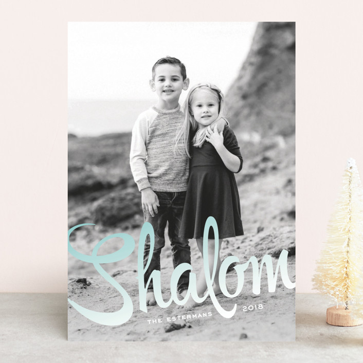 """""""Ombre Shalom"""" - Full-Bleed Photo, Simple Hanukkah Cards in Sky by Jody Wody."""