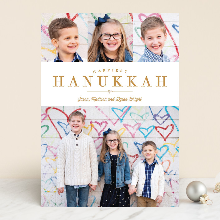 """Sparkling Border"" - Traditional Hanukkah Cards in Golden by Carrie ONeal."