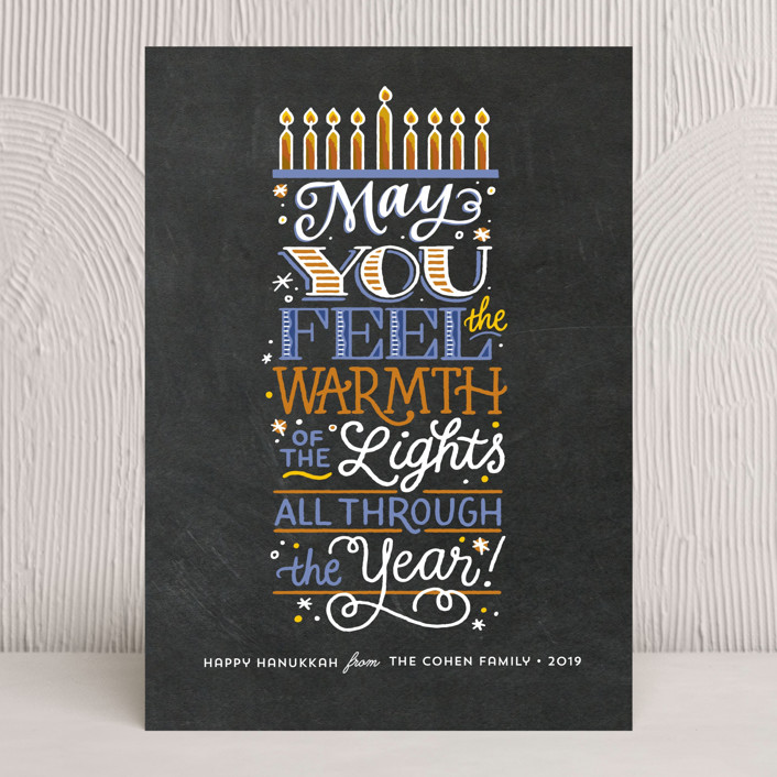 """""""Feel the Warmth"""" - Bold typographic Hanukkah Cards in Charcoal by Laura Bolter Design."""