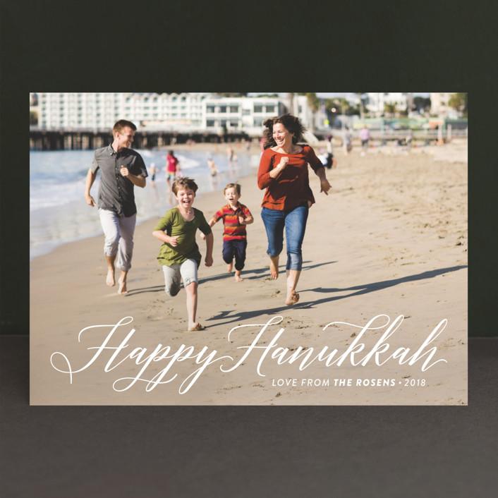"""Simply Hanukkah"" - Full-Bleed Photo, Modern Hanukkah Cards in Snow by Laura Bolter Design."