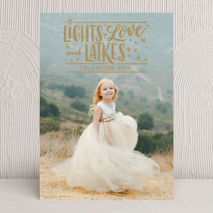 """Glowing LIghts"" - Bold typographic, Full-Bleed Photo Hanukkah Cards in Golden by Laura Bolter Design."
