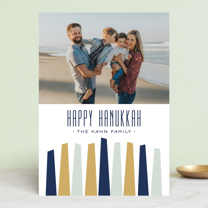 """Modern Menorah"" - Modern Hanukkah Cards in Winter by Alston Wise."