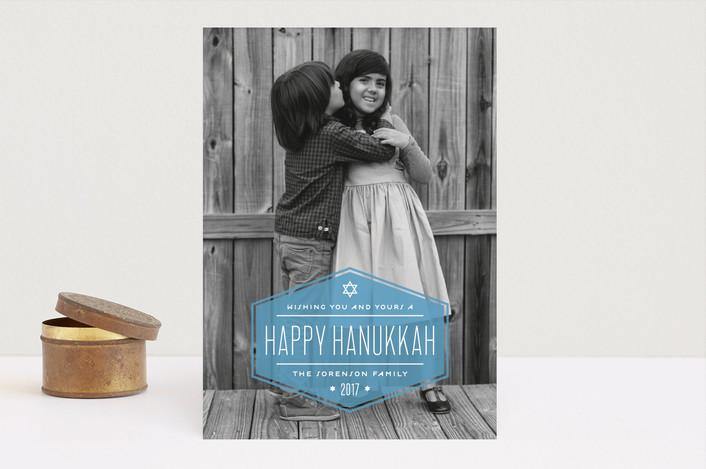 """Label"" - Full-Bleed Photo, Modern Hanukkah Cards in Cerulean by Lauren Chism."