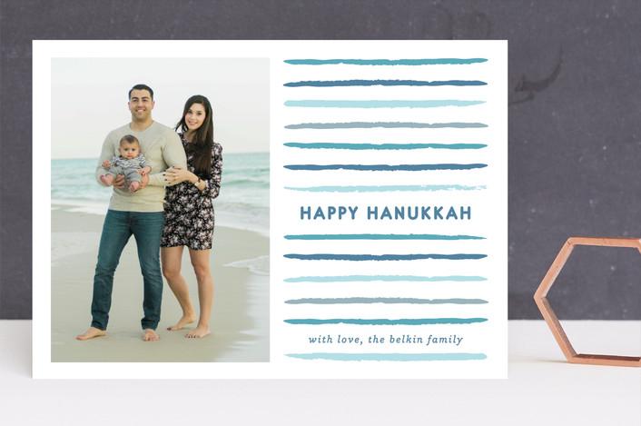 """""""Painted"""" - Modern, Hand Drawn Hanukkah Cards in Ocean by Lauren Chism."""