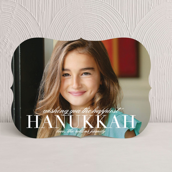 """""""Statement"""" - Bold typographic, Classical Hanukkah Cards in Pearl by Lauren Chism."""
