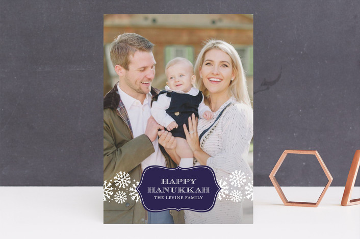 """""""Wintery Mix"""" - Classical, Full-Bleed Photo Hanukkah Cards in Midnight by Lauren Chism."""