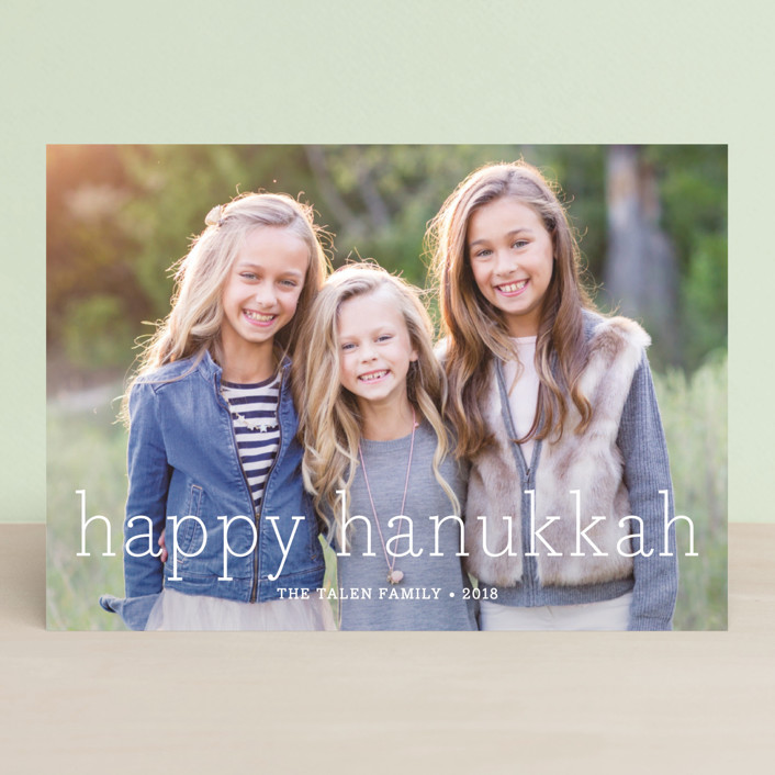 """Happy Everything"" - Classical, Full-Bleed Photo Hanukkah Cards in Pure White by annie clark."