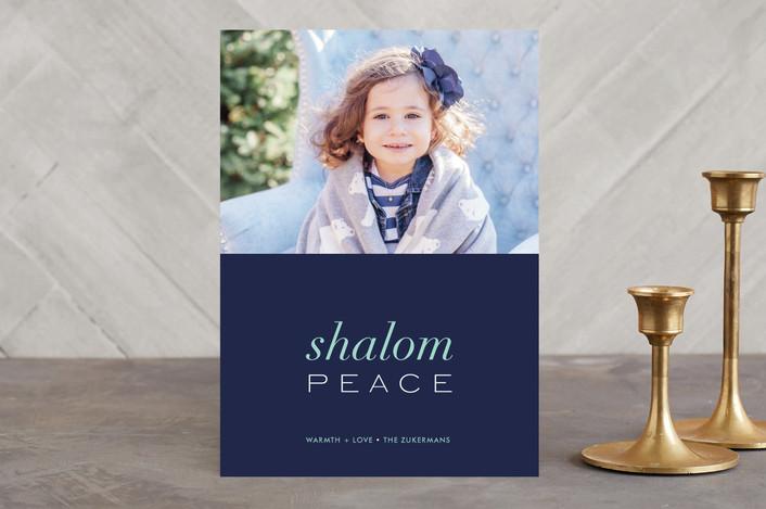 """""""Interfaith Peace"""" - Classical, Minimalist Hanukkah Cards in Royal by kelli hall."""