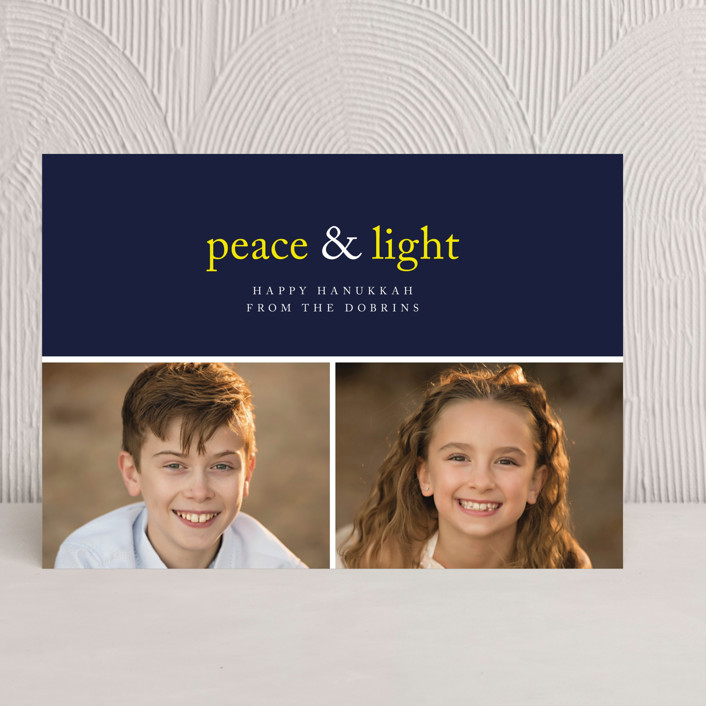 """""""Peace & Light"""" - Bold typographic, Modern Hanukkah Cards in Navy by emily elizabeth stationery."""