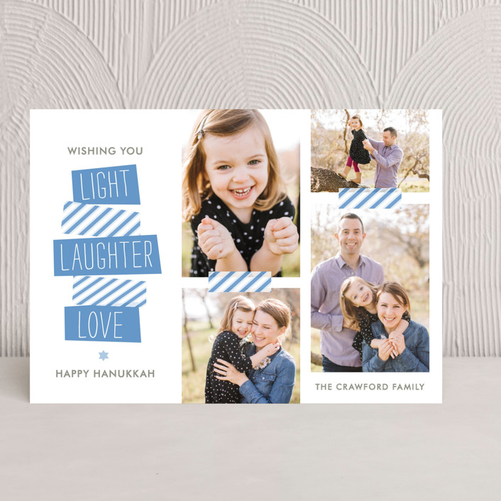 """Stacked"" - Modern Hanukkah Cards in Ocean Blue by The Social Type."