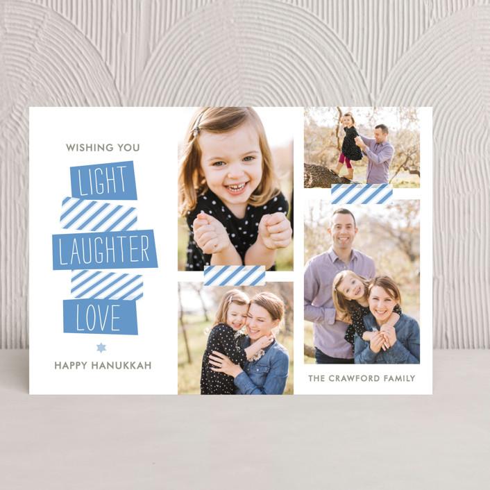 """Stacked"" - Modern Hanukkah Cards in Ocean Blue by The Social Type."