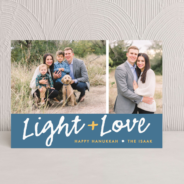 """Light Love"" - Classical, Hand Drawn Hanukkah Cards in Navy by The Social Type."