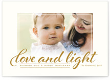 This is a yellow hanukkah card by Kimberly Morgan called Hanukkah Love printing on smooth signature in standard.