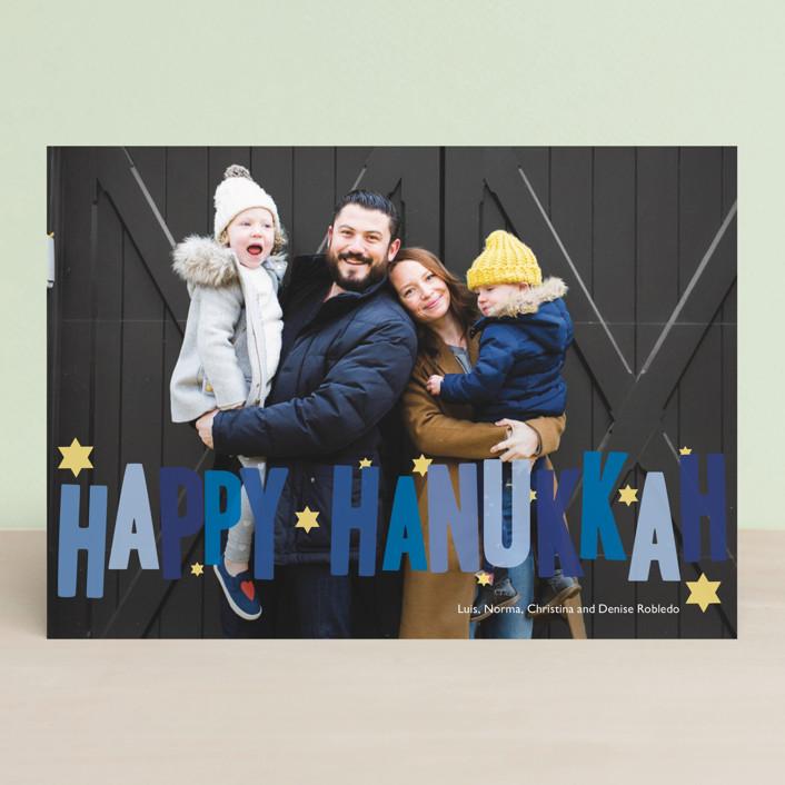 """Hip Hanukkah"" - Hanukkah Cards in Cobalt by Sarah Lenger."