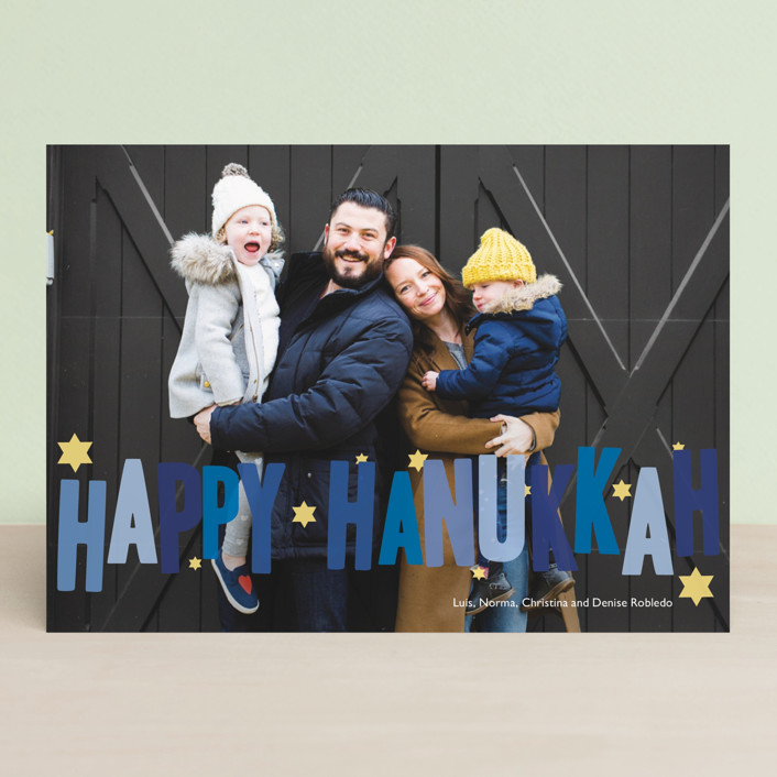 """Hip Hanukkah"" - Hanukkah Cards in Cobalt by Sarah Lenger."