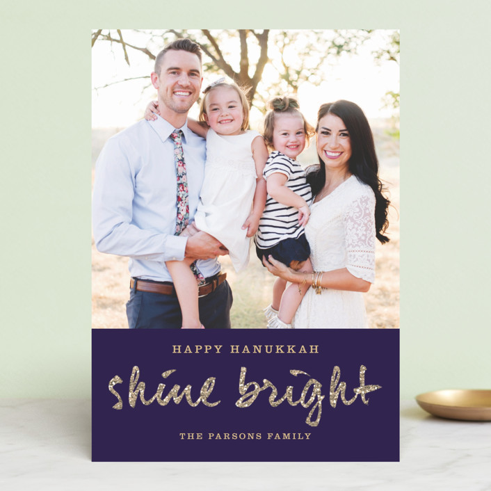 """""""Shine Bright"""" - Classical Hanukkah Cards in Navy by Paper Dahlia."""