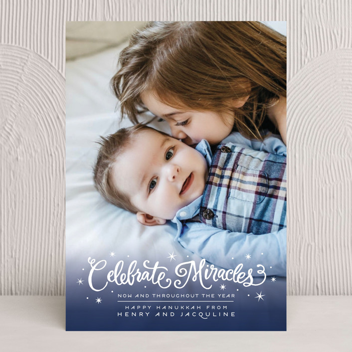 """Celebrate Miracles"" - Full-Bleed Photo Hanukkah Cards in Cloud by Laura Bolter Design."